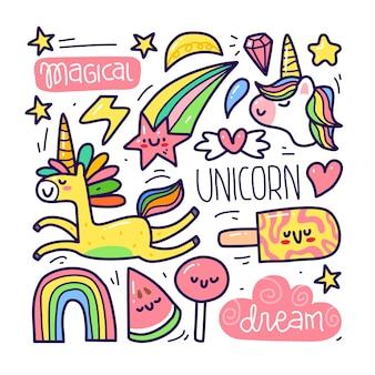 Insieme di raccolta di doodle dell'elemento unicorno