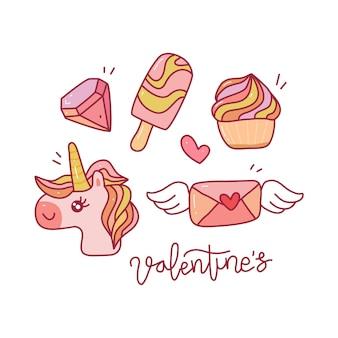 Insieme di raccolta di doodle del giorno di san valentino