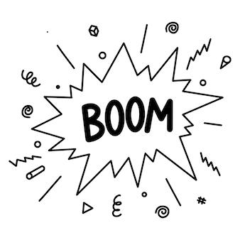 Doodle fumetto di esplosione comica. fumetti comici disegnati a mano con boom di testo isolato su sfondo bianco per web, poster, striscioni e concept design. illustrazione vettoriale.