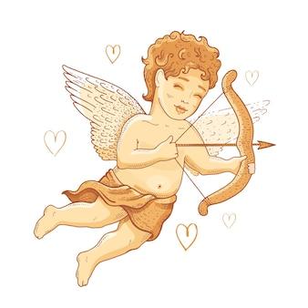 Doodle cupido cherubino per il giorno di san valentino