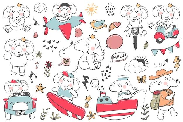 Doodle attività di illustrazione elefante carino