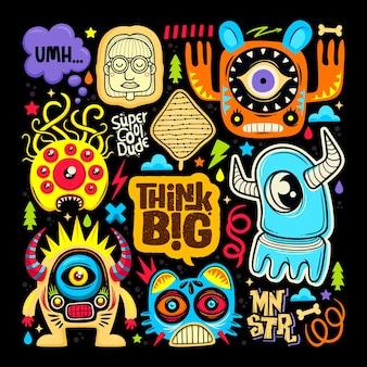 Doodle icone di adesivo mostro sveglio disegnato a mano da colorare vector