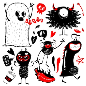 Doodle simpatici mostri su sfondo bianco