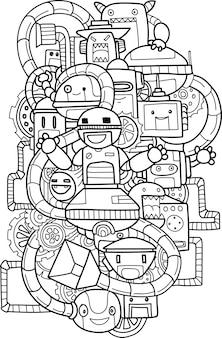 Doodle elemento simpatico robot Vettore Premium