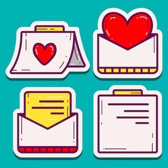 Cartoline d'auguri di san valentino di doodle design cartoon stickers