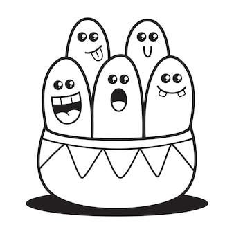 Doodle design colorazione cartoon mostri illustrazione