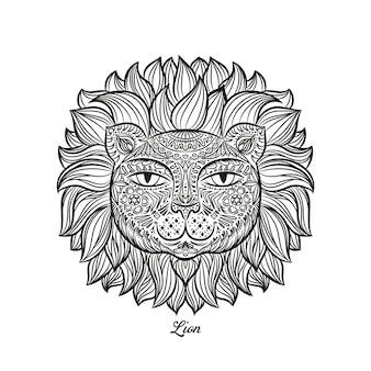 Doodle design di una testa di leone