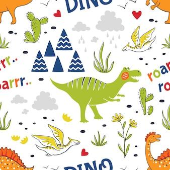 Modello di dinosauro doodle. stampa su tessuto senza cuciture, tessuto disegnato a mano alla moda, simpatici draghi infantili