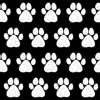 Fondo senza cuciture della zampa del cane di doodle. campione di tracce di zampe di cane astratto per biglietti, inviti, poster di cliniche veterinarie, tessuti, stampe di borse, pubblicità di laboratori moderni ecc.