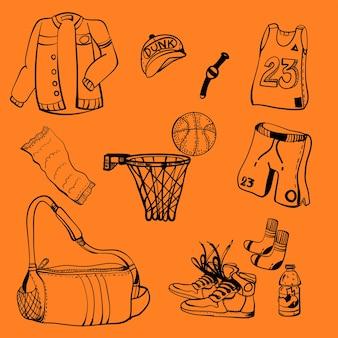 Doodle disegno attrezzature da basket icona