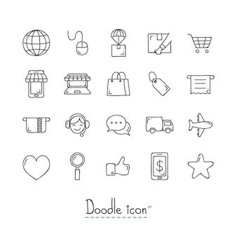 Doodle e-commerce icone.