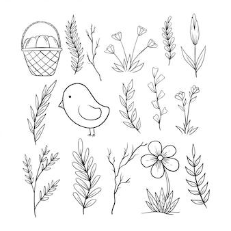 Raccolta delle icone di pasqua di scarabocchio su fondo bianco