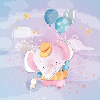 Doodle elephant pittura ad acquerello in floreale.