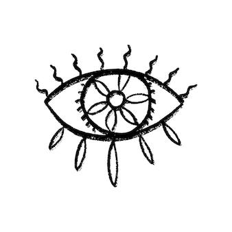 Insieme disegnato a mano di doodle occhi. simboli mistici collezione boho. evil eye, mezzaluna e cristalli art. illustrazione vettoriale