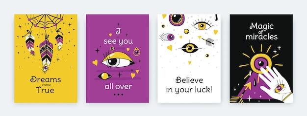 Poster di occhi di doodle. striscioni verticali contemporanei con elementi etnici greci, simboli di occhi malvagi disegnati a mano alla moda. set di volantini di moda moderna vettoriale illustrati modelli viola