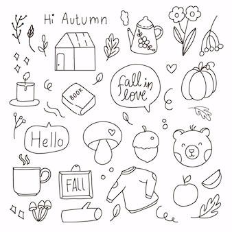 Doodle disegno a mano di elementi di autunno autunno. collezione autunnale fumetto linea arte. moderna caduta astratta decorazione stagionale icona simbolo casa, libro, caldo