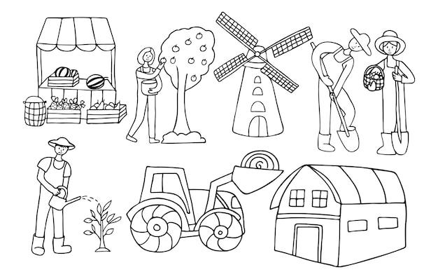 Doodle icone di agricoltura e giardinaggio nel vettore. icone di giardinaggio disegnate a mano in vettoriale