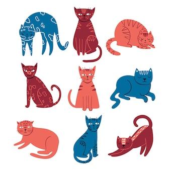 Doodle set piatto di gatti carini gatti disegnati a mano isolati su sfondo bianco