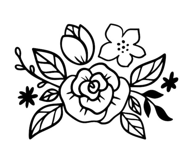 Doodle diadema di fiori con rose e foglie. corona floreale in stile art line. bouquet per fascia per accessorio donna. illustrazione vettoriale isolato su sfondo bianco. disegno di ghirlande floreali.