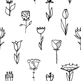 Doodle fiori, disegno a mano. modello senza soluzione di continuità. illustrazione vettoriale.