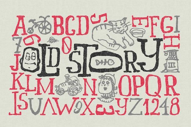 Carattere doodle impostato con illustrazioni divertenti