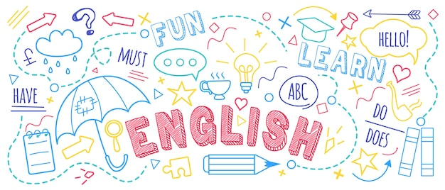 Doodle del corso di formazione in lingua straniera