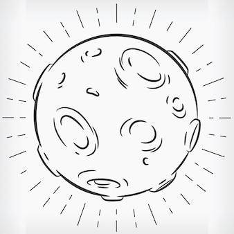 Doodle schizzo disegnato a mano della luna piena