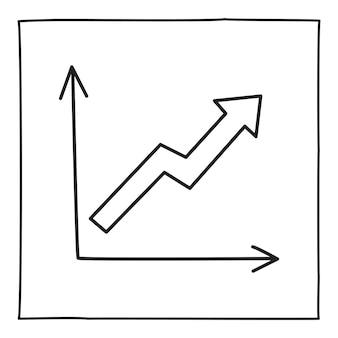 Icona o logo del grafico grafico doodle, disegnato a mano con una sottile linea nera. isolato su sfondo bianco. illustrazione vettoriale