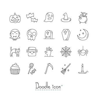 Set di icone di halloween doodle.