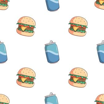 Hamburger e soda di doodle possono senza cuciture