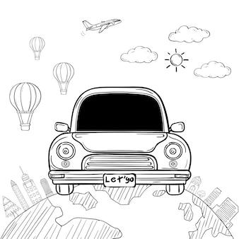 Doodle hand draw car cartoon viaggiatore con fumo e asset viaggio intorno al concetto di mondo