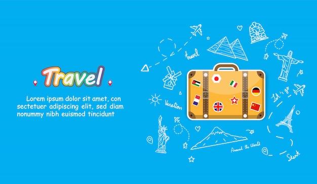 Viaggiatore di tiraggio della mano di scarabocchio con i bagagli della bandiera nazionale. check in aereo accessori punto di viaggio in tutto il mondo concetto di progettazione del fondo.