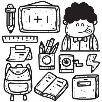 Doodle mano disegno di nuovo a scuola