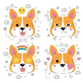 Collezione di adesivi di emoticon di cani disegnati a mano di doodle