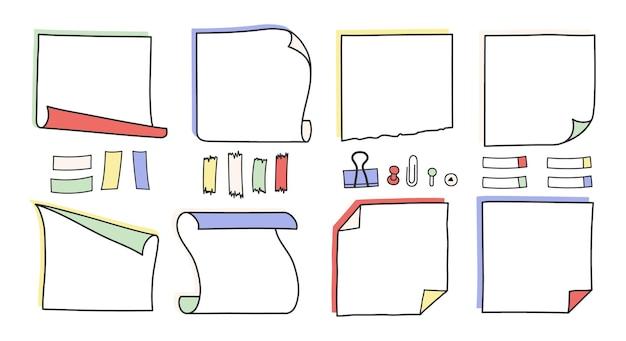 Doodle note di promemoria disegnate a mano e set di illustrazioni vettoriali di promemoria