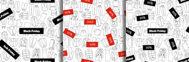 Scarabocchiare vendita disegnata a mano e set di modelli senza cuciture di abbigliamento donna venerdì nero