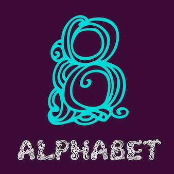 Alfabeto di schizzo disegnato a mano di doodle. lettera b