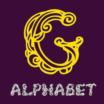 Alfabeto di schizzo disegnato a mano di doodle. lettera g