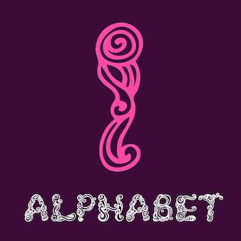 Alfabeto di schizzo disegnato a mano di doodle. lettera i