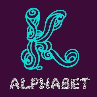 Alfabeto di schizzo disegnato a mano di doodle. lettera k