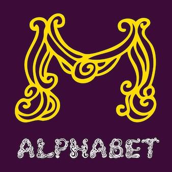 Alfabeto di schizzo disegnato a mano di doodle. lettera m