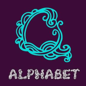 Alfabeto di schizzo disegnato a mano di doodle. lettera q