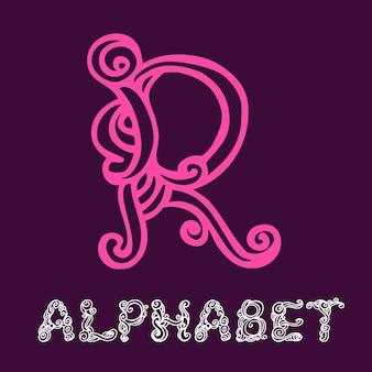 Alfabeto di schizzo disegnato a mano di doodle. lettera r