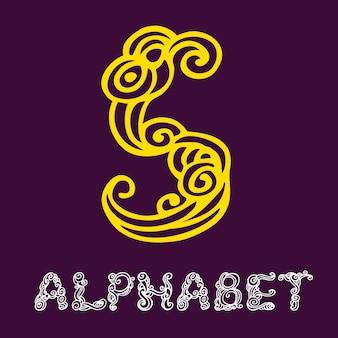 Alfabeto di schizzo disegnato a mano di doodle. lettera s