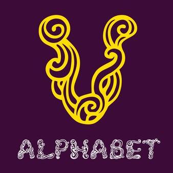 Alfabeto di schizzo disegnato a mano di doodle. lettera v