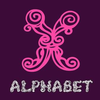 Alfabeto di schizzo disegnato a mano di doodle. lettera x