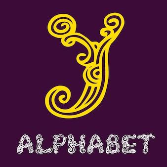Alfabeto di schizzo disegnato a mano di doodle. lettera y