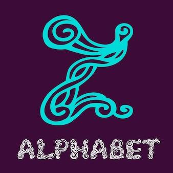 Alfabeto di schizzo disegnato a mano di doodle. lettera z