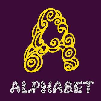 Alfabeto di schizzo disegnato a mano di doodle. lettera a