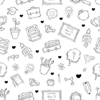 Doodle o disegnato a mano stile del modello senza cuciture delle icone della scuola